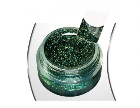 Gold glam glitter gel Dark green